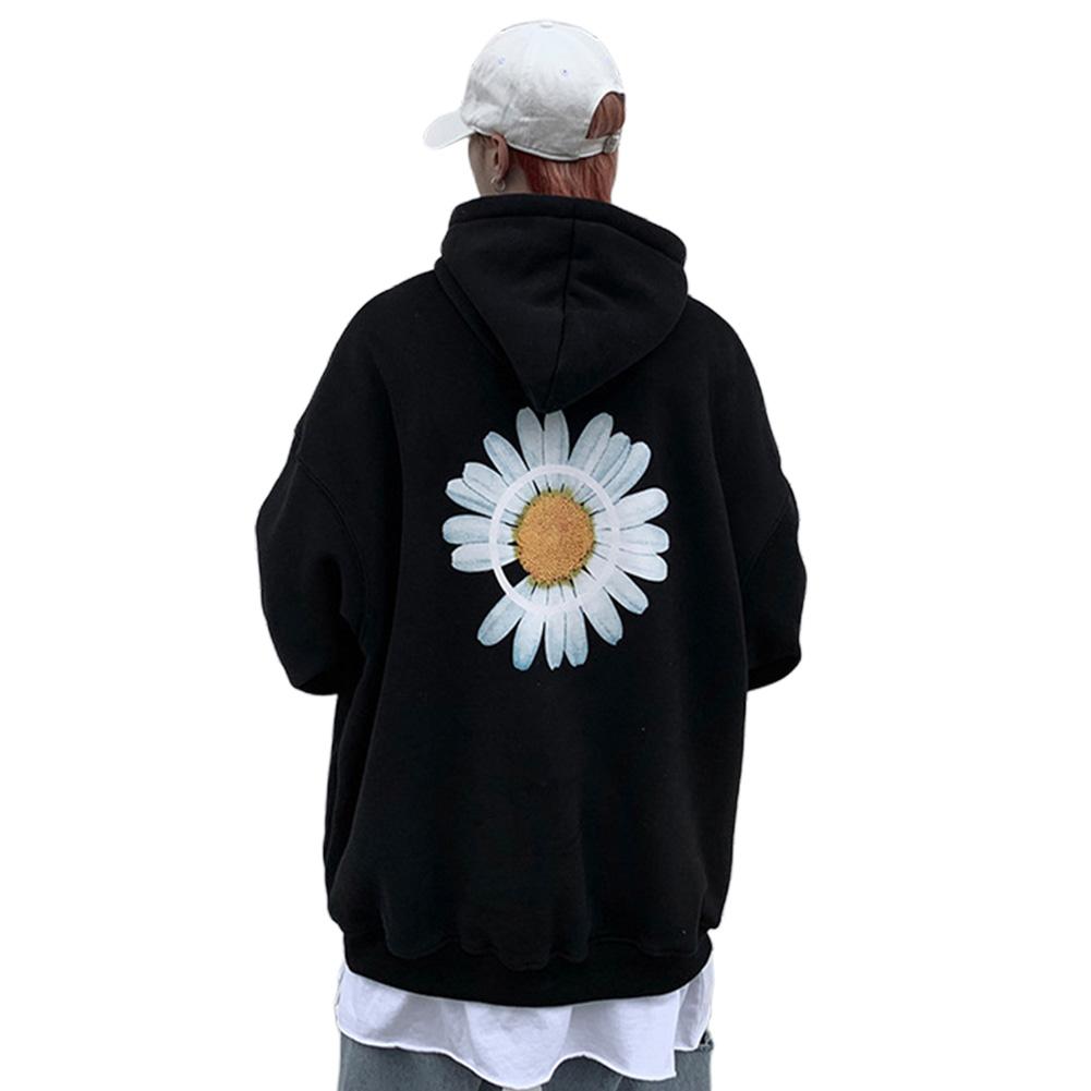 Men Women Hoodie Sweatshirt Chrysanthemum Printing Simple Unisex Pullover Tops Black_L