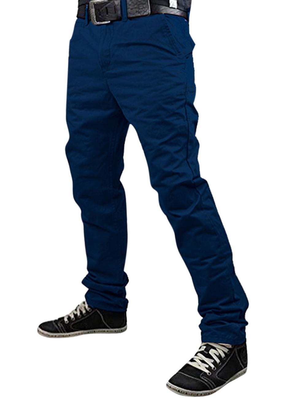 Fashionable Men Solid Color Trousers Business Straight-leg Pants Casual Cotton Pants Navy Blue_2XL