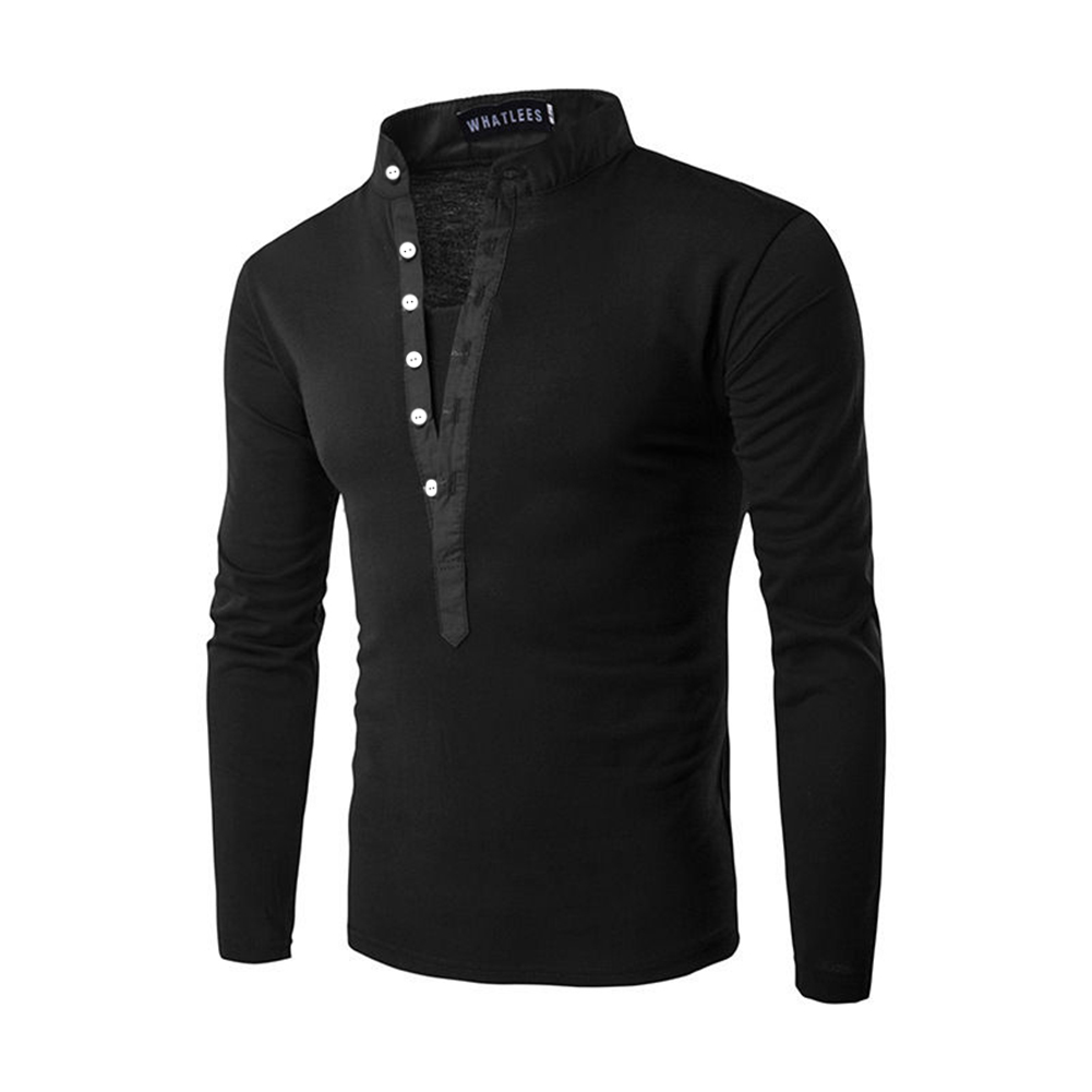 Men Fashion Shirt Slim Fit Casual Long Sleeve Pullover Tops black_XXL