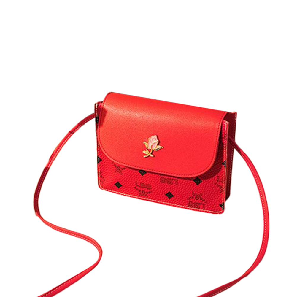 Fashion hit color casual small square bag pu single shoulder messenger bag red