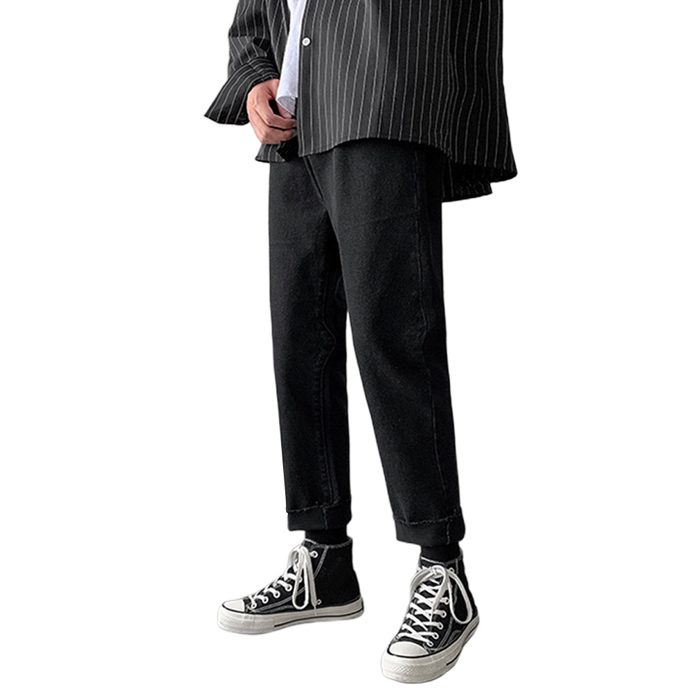 Men Jeans Denim Pants Low Waist Straight Bottom Loose Casual Male Trousers Black_M