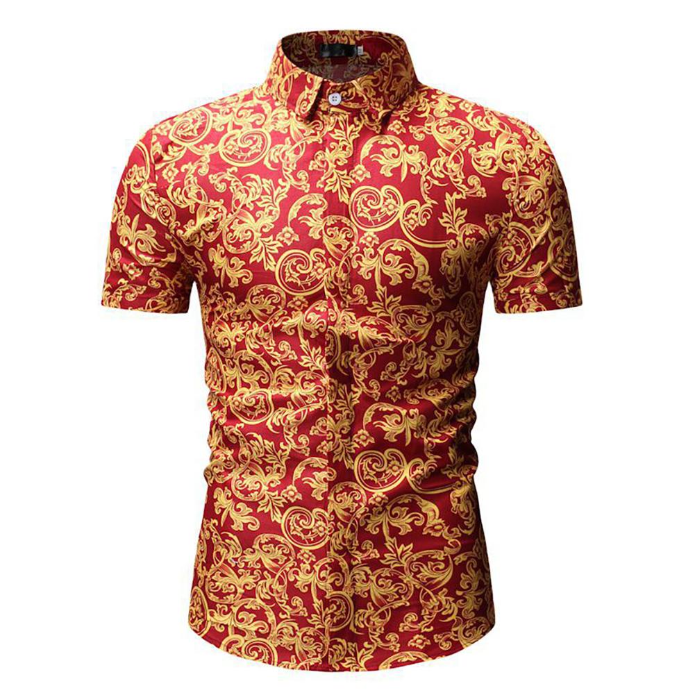 Men Summer Hawaii Digital Printing Short Sleeve T-shirt red_M