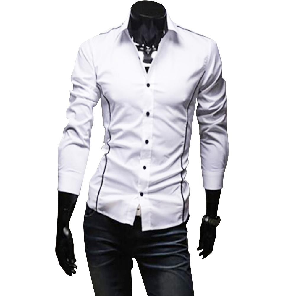 Men Luxury Casual Business Long Sleeve Slim Shirt white_XL