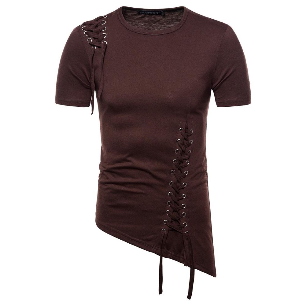 Men Casual Slim Short Sleeve T-Shirt Unique Irregular Hem Braided Rope Tops Brown_XXL