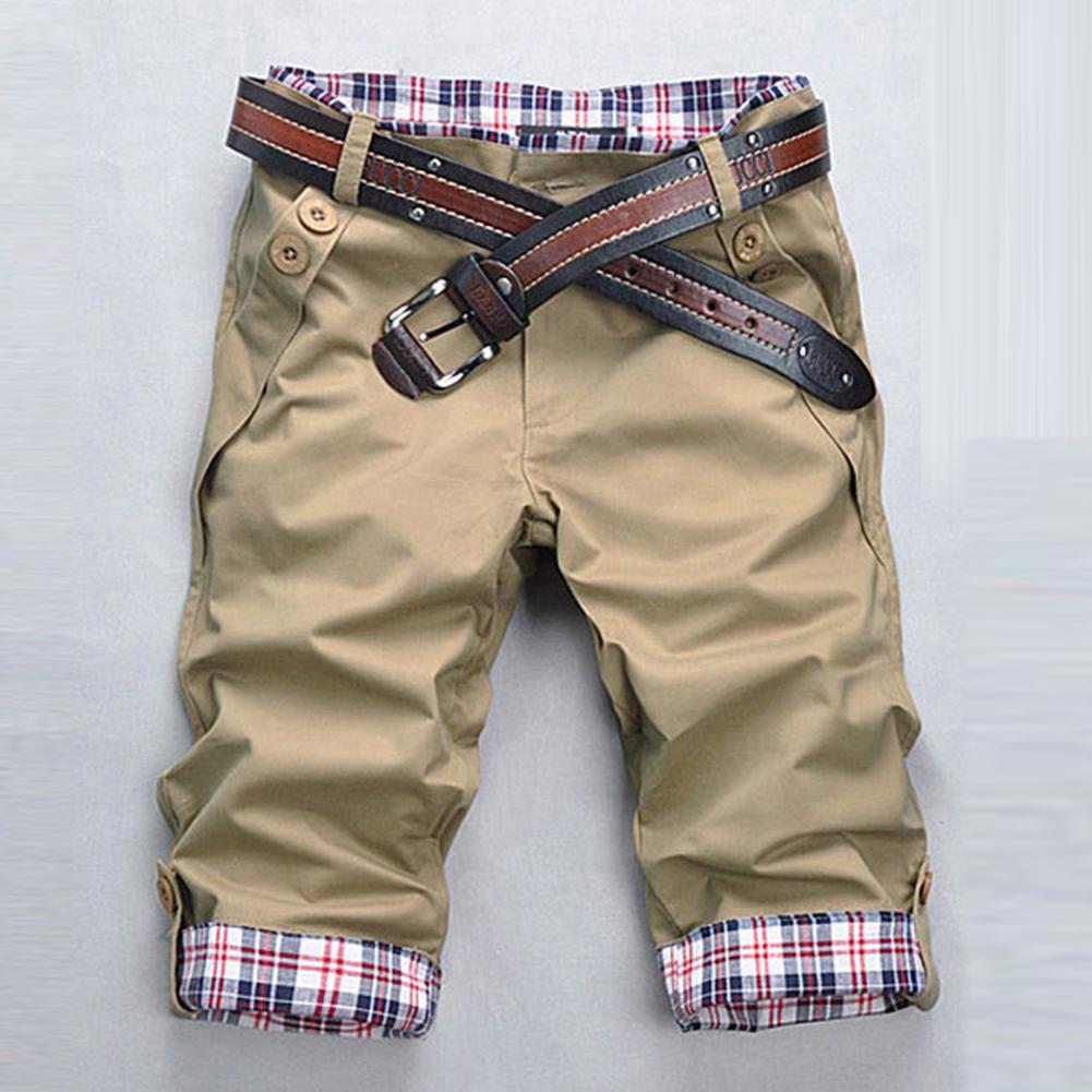 Men Fashion Casual Slim Cropped Trousers with Zipper Khaki_L
