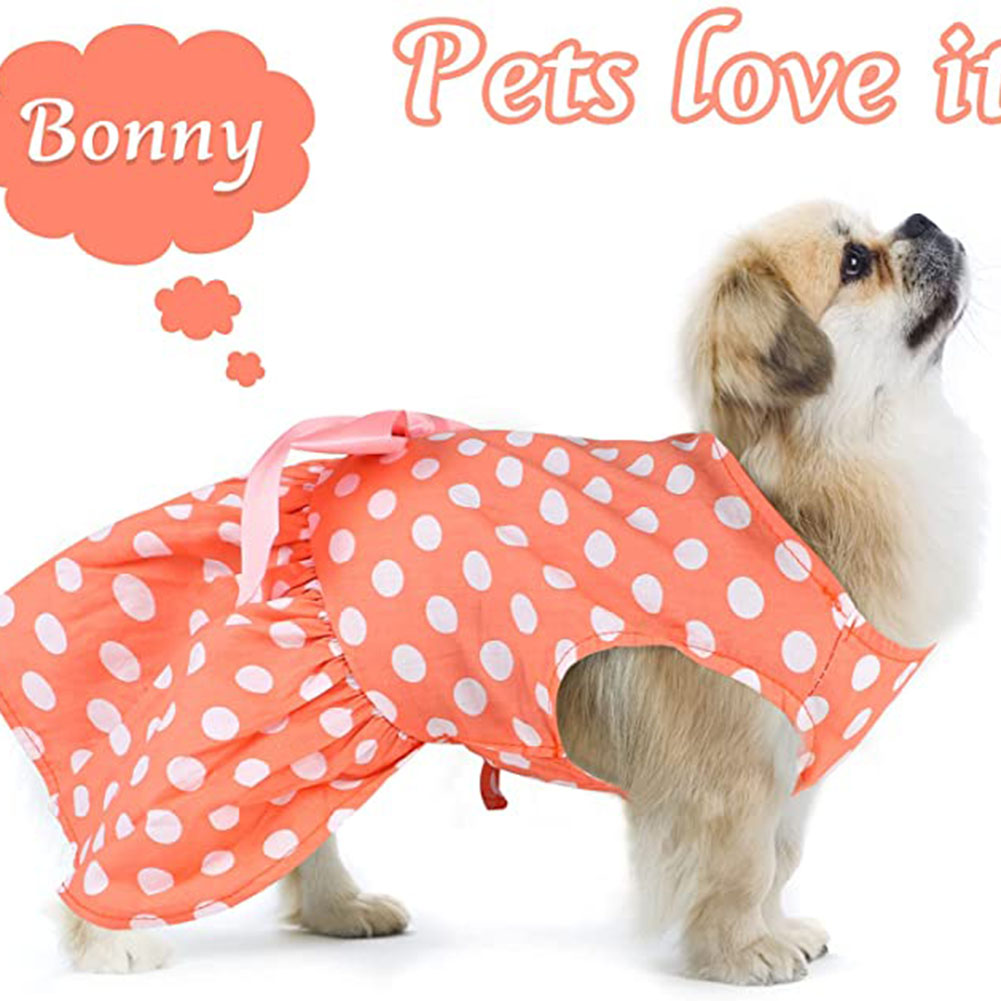 Polyester Pet  Clothes Summer Plaid    Skirt For Dog Pet Clothing Supplies Orange_S