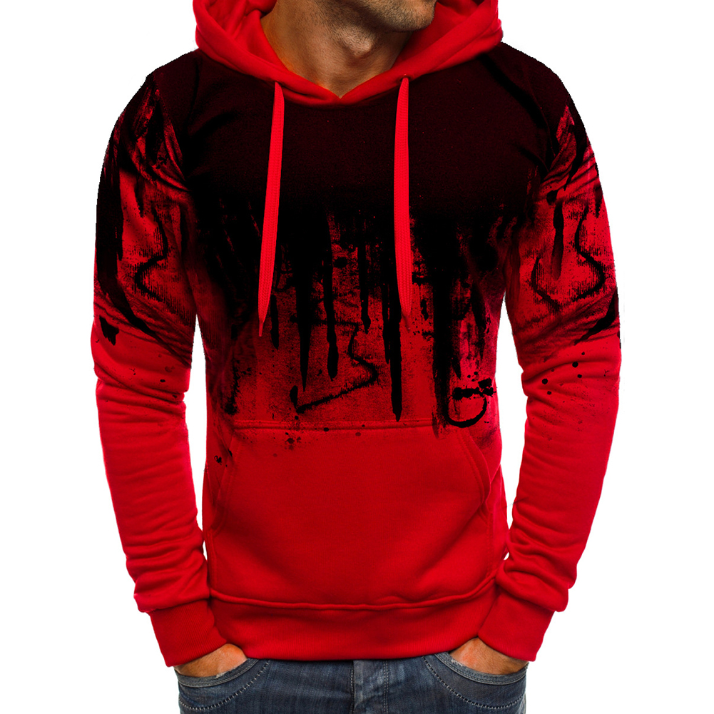 Men Casual Loose Long Sleeve Hoodie Chic Printed Sports Hooded Sweatshirt Pullover red_L