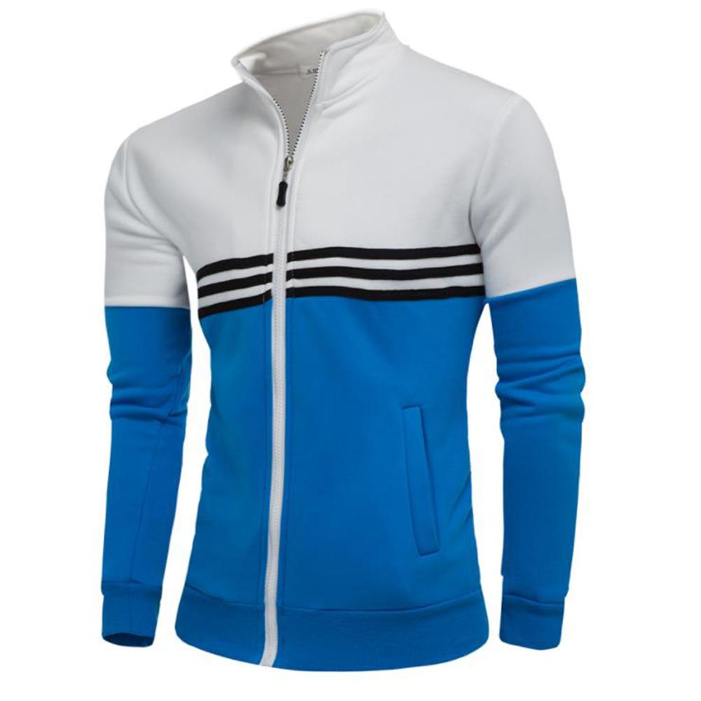 Men Fashion Coat Colour Matching Stand Collar Long SLeeve Jacket  white_M
