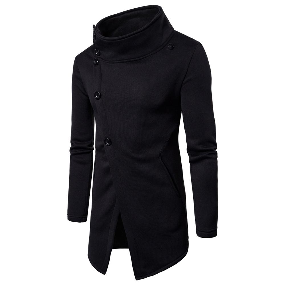 Men Fashion Slim Oblique Buttons Sweatshirts Coat black_M