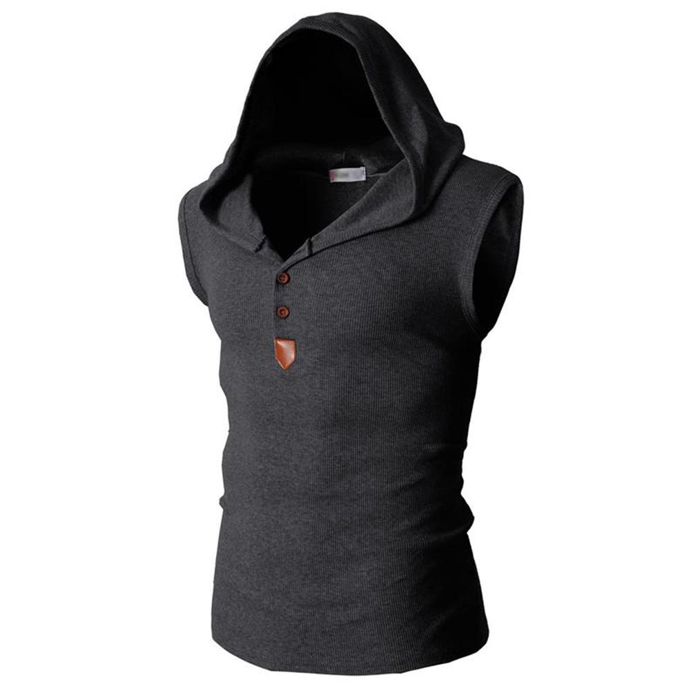 Men Solid Color Sleeveless Casual Hooded Vest Base Shirt Dark gray_XL