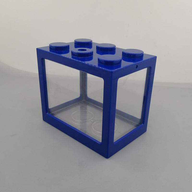 Superposed Mini Aquarium Fishbowl for Rumble Fish Marimo Spider Marimo(No USB No Light) Blue