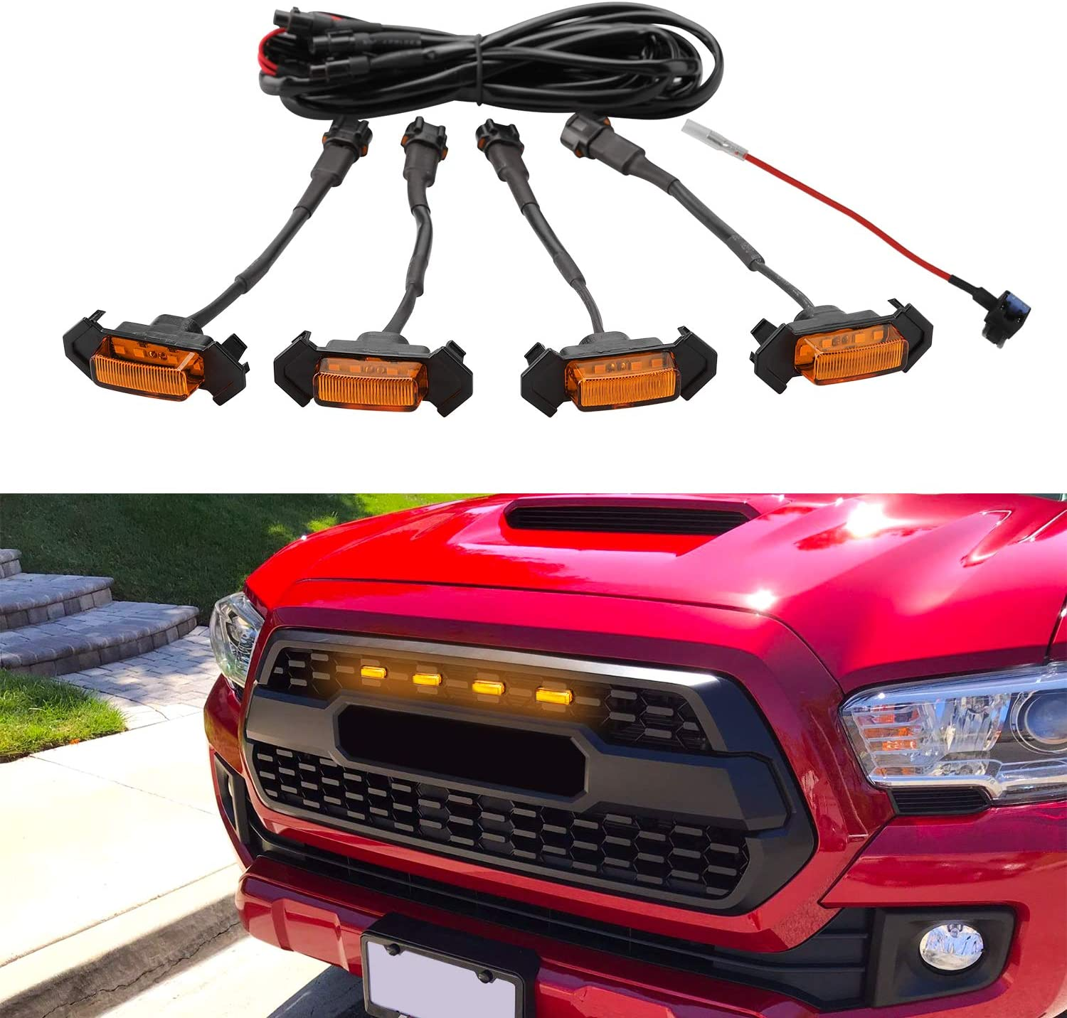4pcs/set Car  Grill  LED Lights With Harness Fuse Upgrade For Automobile Modification Amber shell amber light