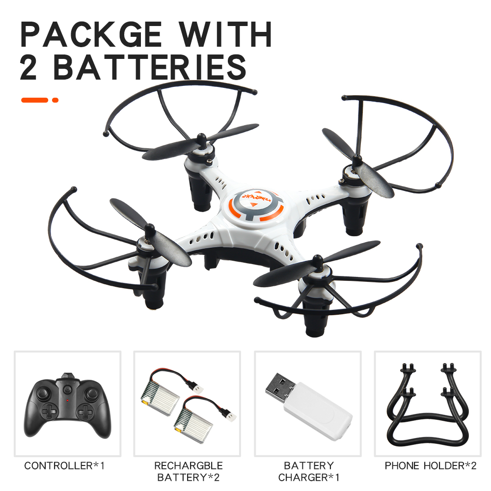 JX815-2 Mini 2.4GHz 4 Channel Drone 360° Rolling Quadcopter white 2 battery