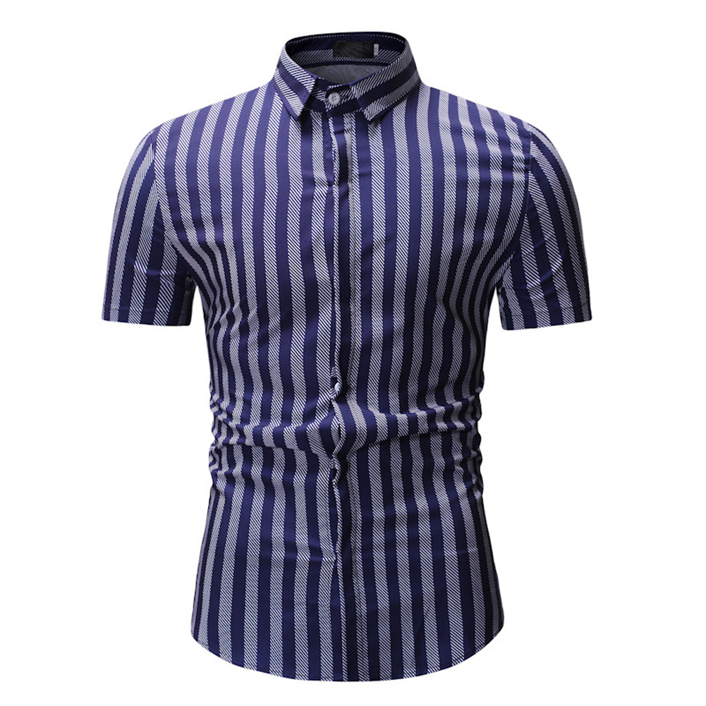 Men New Striped Casual Cotton Blend Short Sleeve Shirt Tops White stripes_XXL