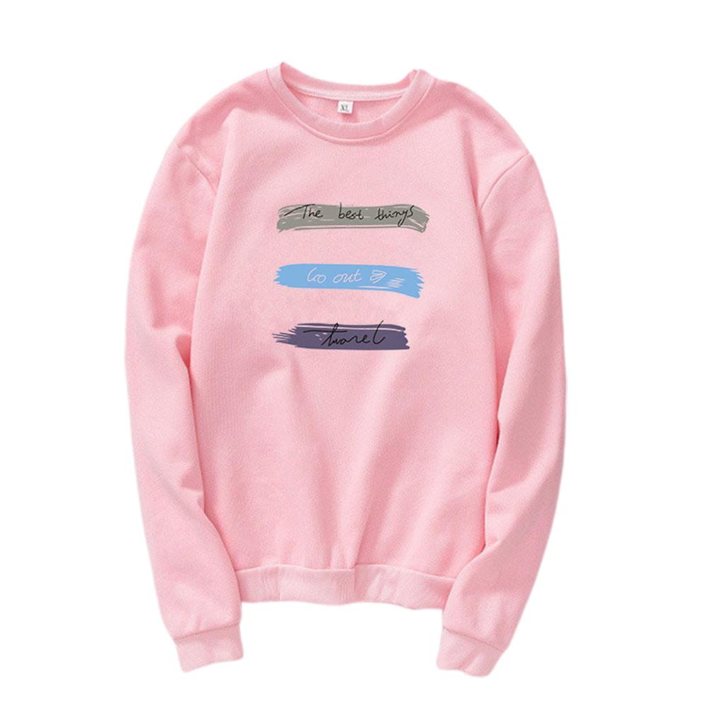 Men Women Long Sleeve Autumn Fleece Loose Coat Sweatshirts for Casual  Pink_L