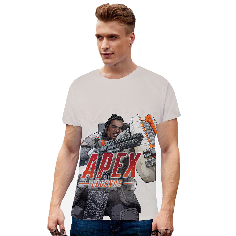 Unisex 3D Digital Game Printing Vivid Pattern Short Sleeve Cotton Casual T-shirt E type_XXL