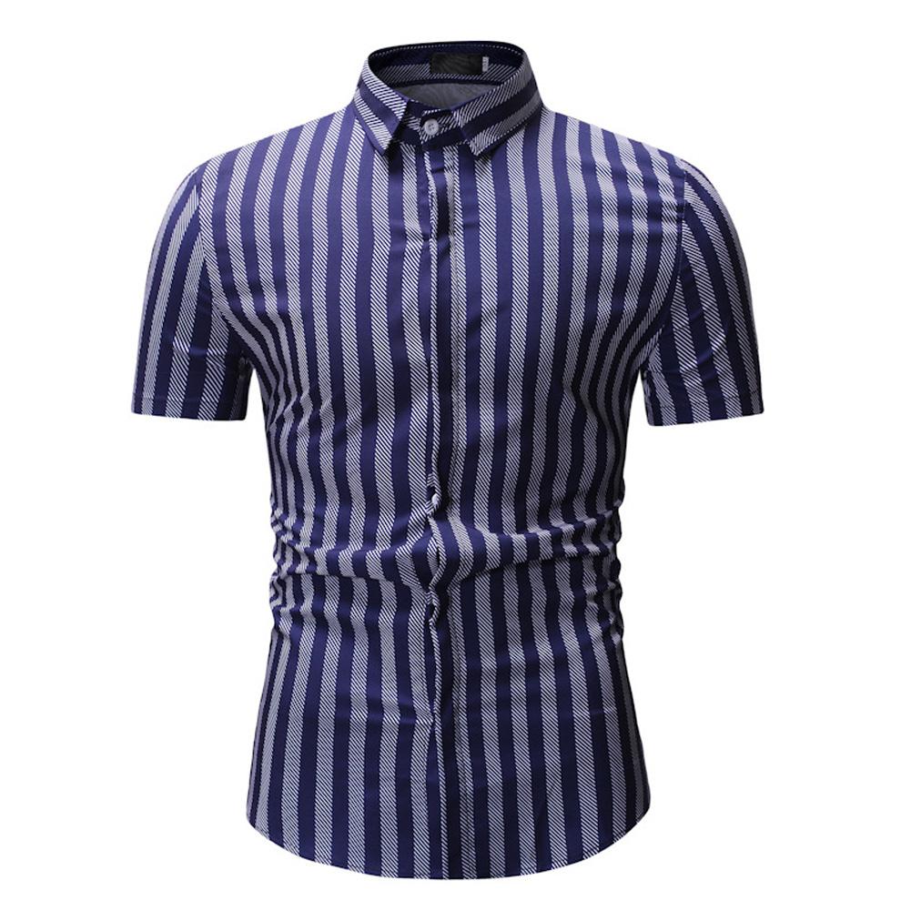 Men New Striped Casual Cotton Blend Short Sleeve Shirt Tops White stripes_XL