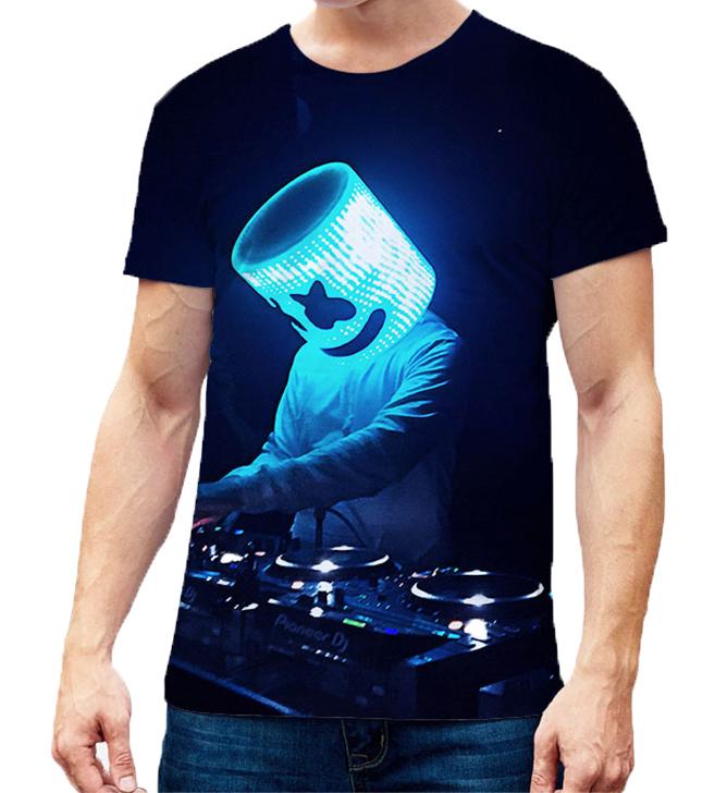 Unisex Vivid Color 3D DJ Marshmello Pattern Fashion Loose Casual Short Sleeve T-shirt  C_XXL