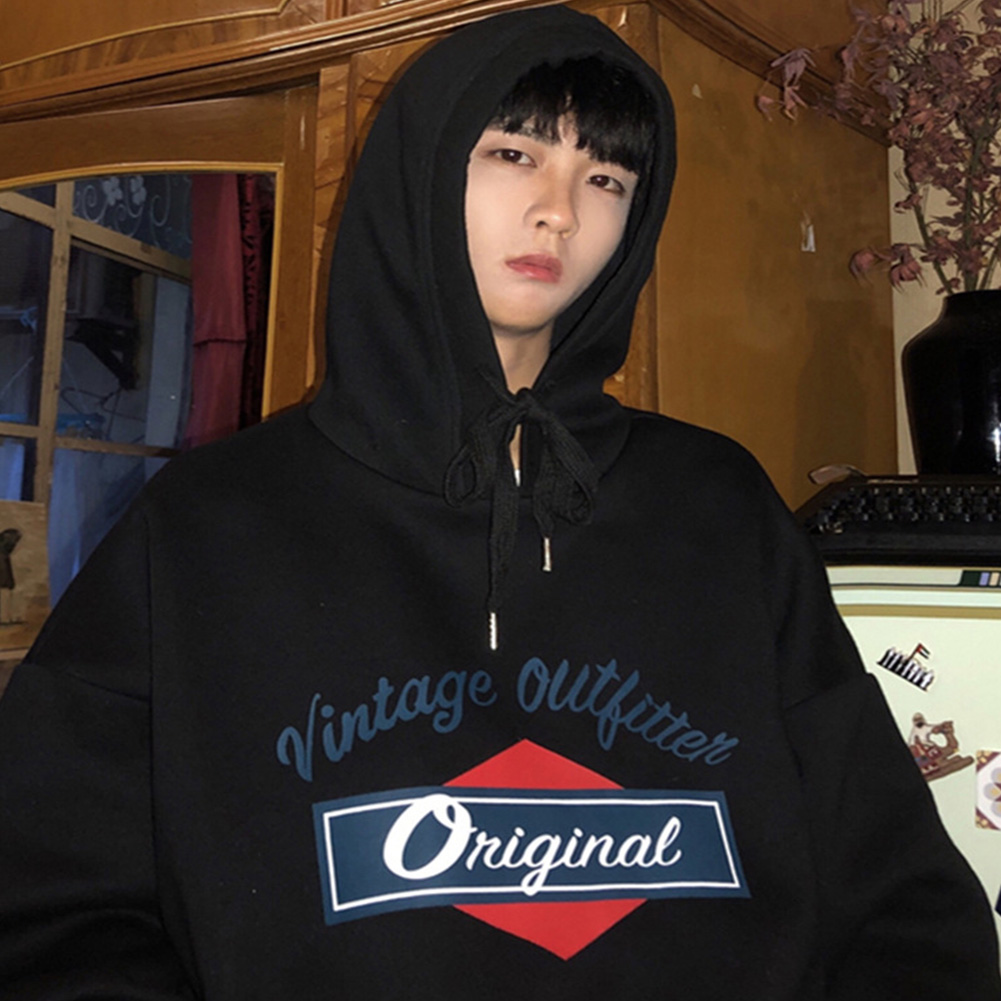 Men Women Hoodie Sweatshirt Letter Printing Loose Fashion Hip-hop Pullover Casual Tops Black_M