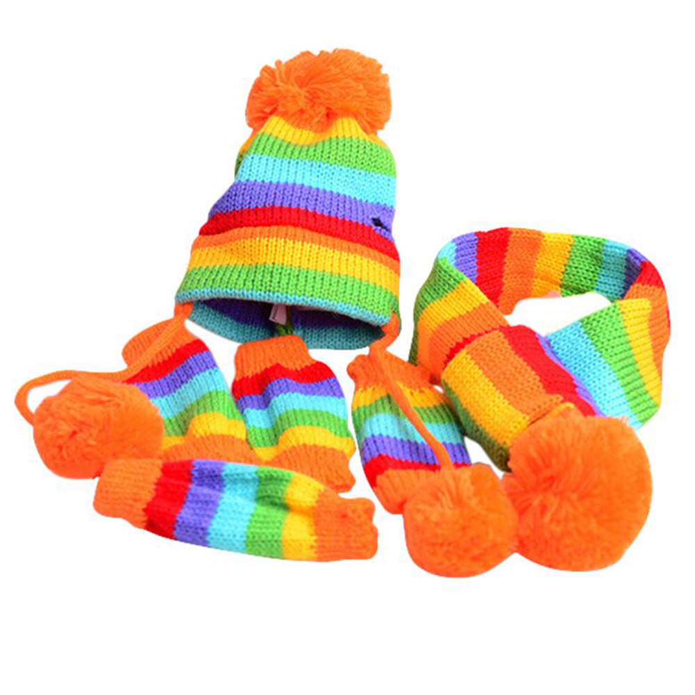 3pcs Pet Dog Winter Cloth with Hat Scarf and Foot Covers Dogs Winter Warm Scarf rainbow_XXS