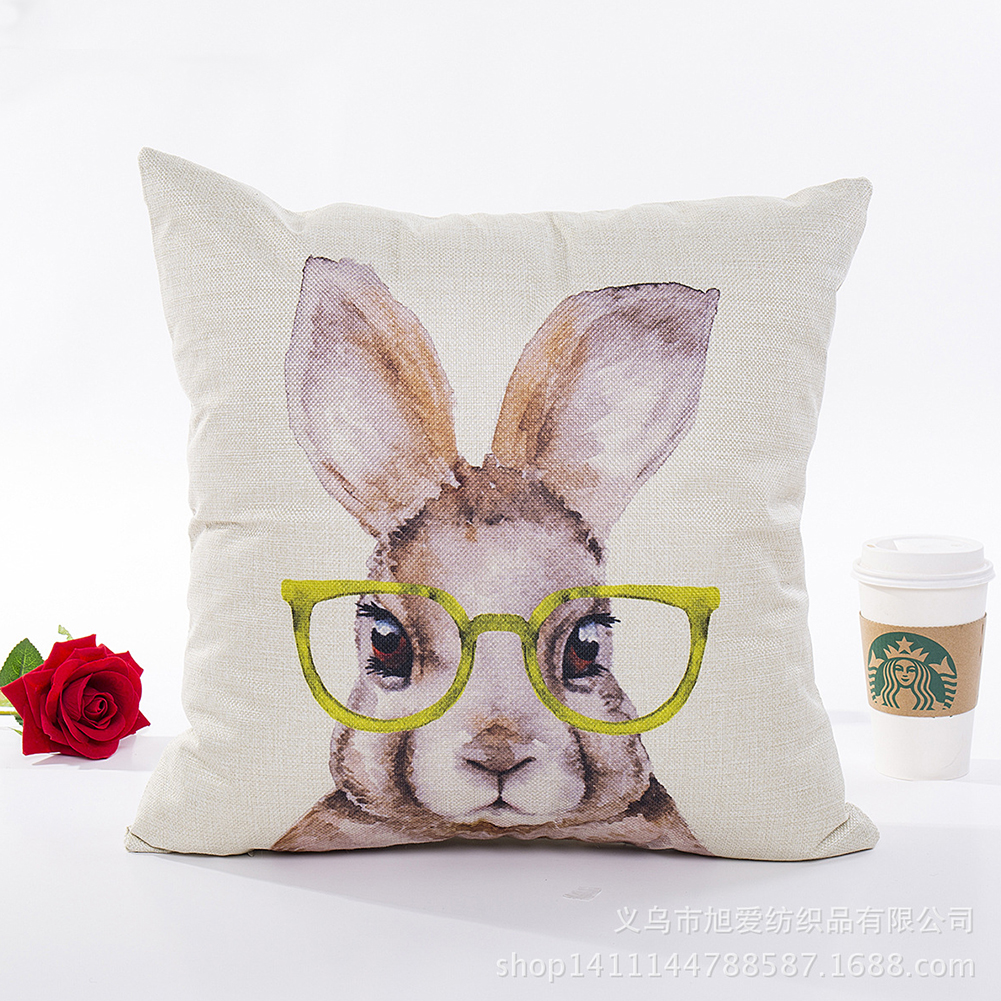 Digital Bunny Rabbit Series Printing Pillow Cover for Easter Home Decor Yellow glasses_45*45cm