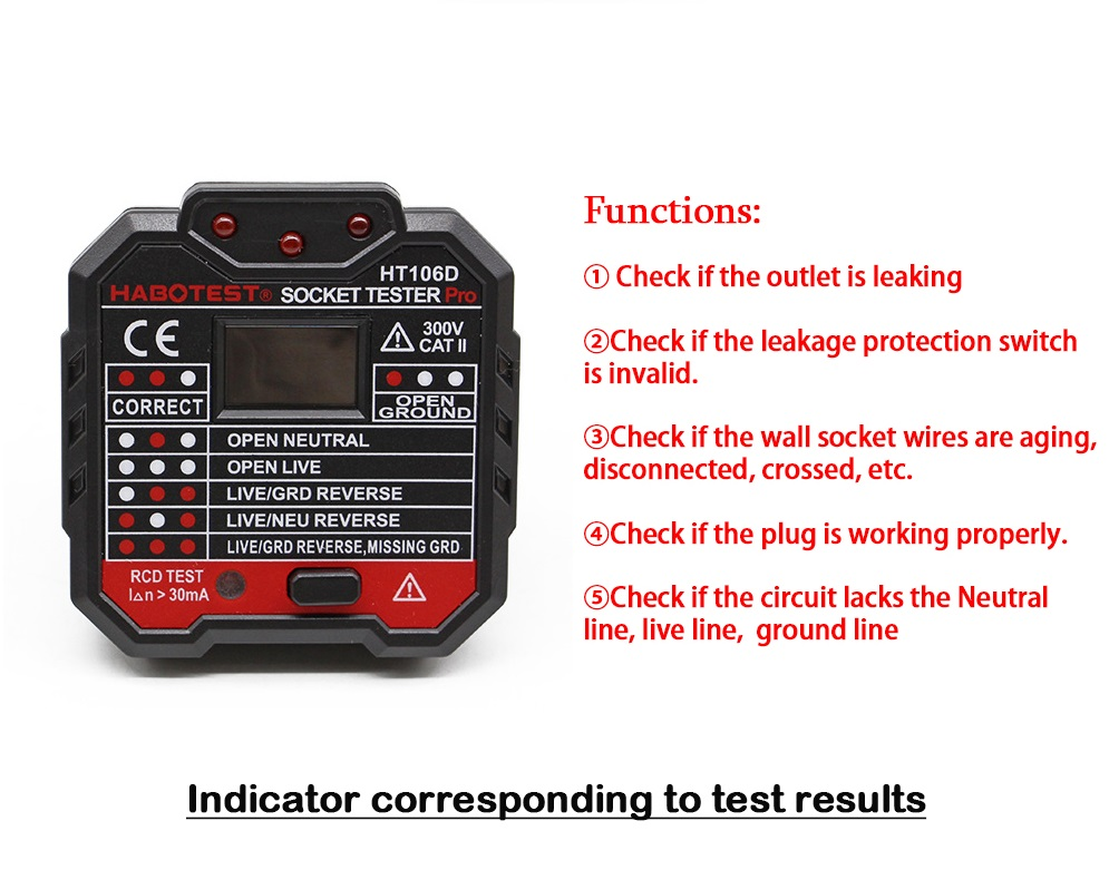 Digital Display Socket Tester Plug Polarity Phase Check Detector Voltage Test Multi-Function Electroscope EU plug