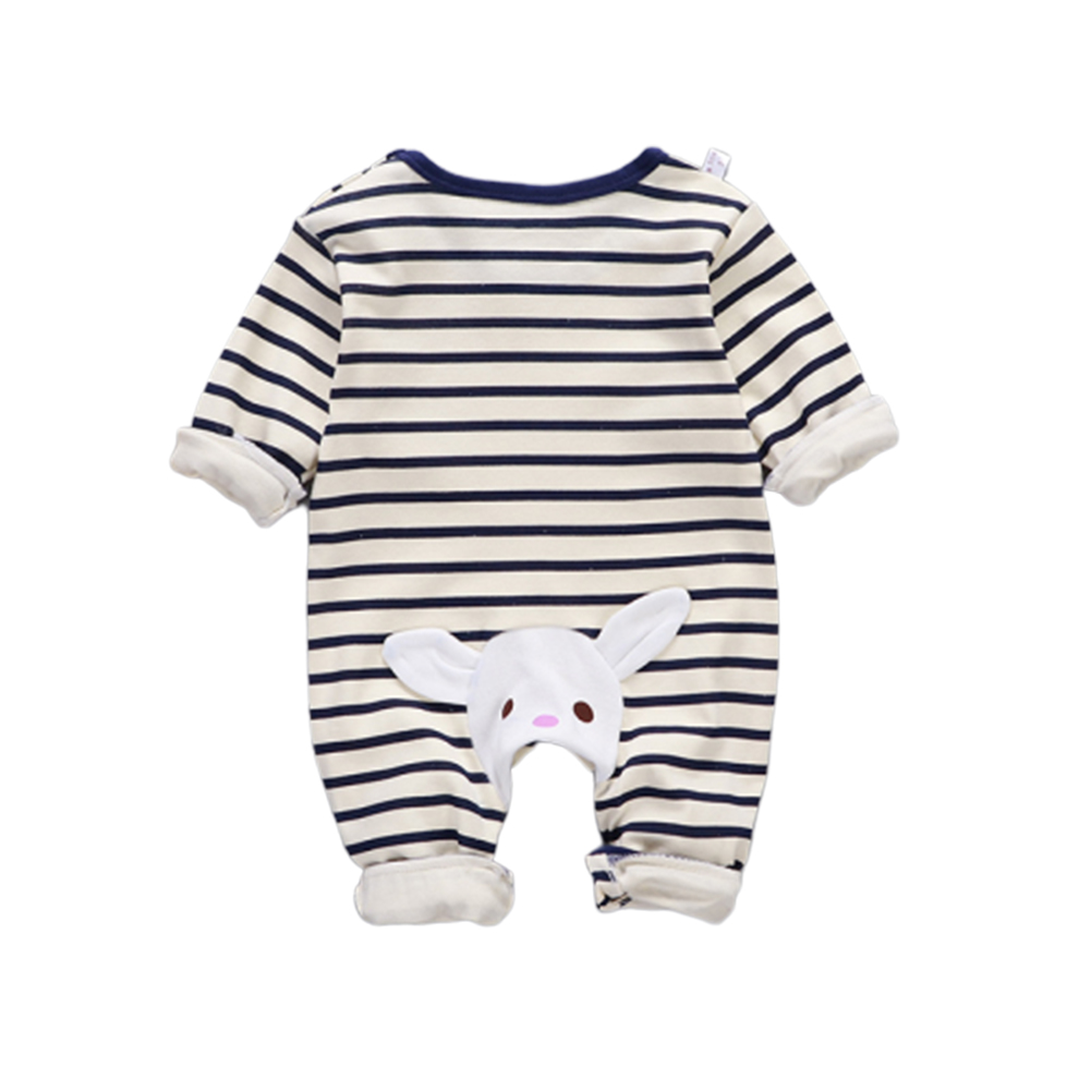 Baby Piece Jumpsuits Cotton Long Sleeve Tops for Daily Out Wearing Blue stripes (striped blue with bunny)_59