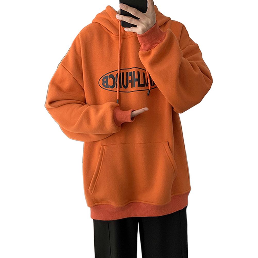 Men Women Spring Autumn Loose Letter Printing Hooded Sweatshirt Orange 372_XL