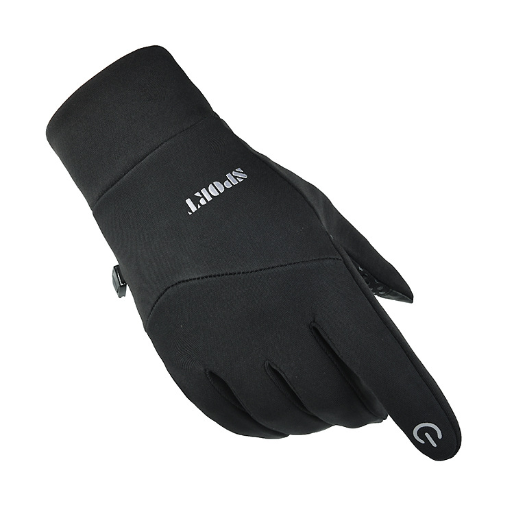 Cold-proof Ski Gloves Anti Slip Winter Waterproof Windproof Gloves Cycling Fluff Warm Gloves For Touchscreen black_L