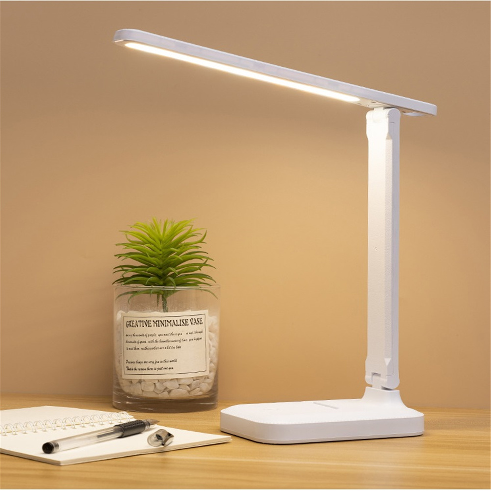 Led Rechargeable Foldable Table  Lamp 3 Modes Reading Work Study Light Bulb For Children's Bedroom White