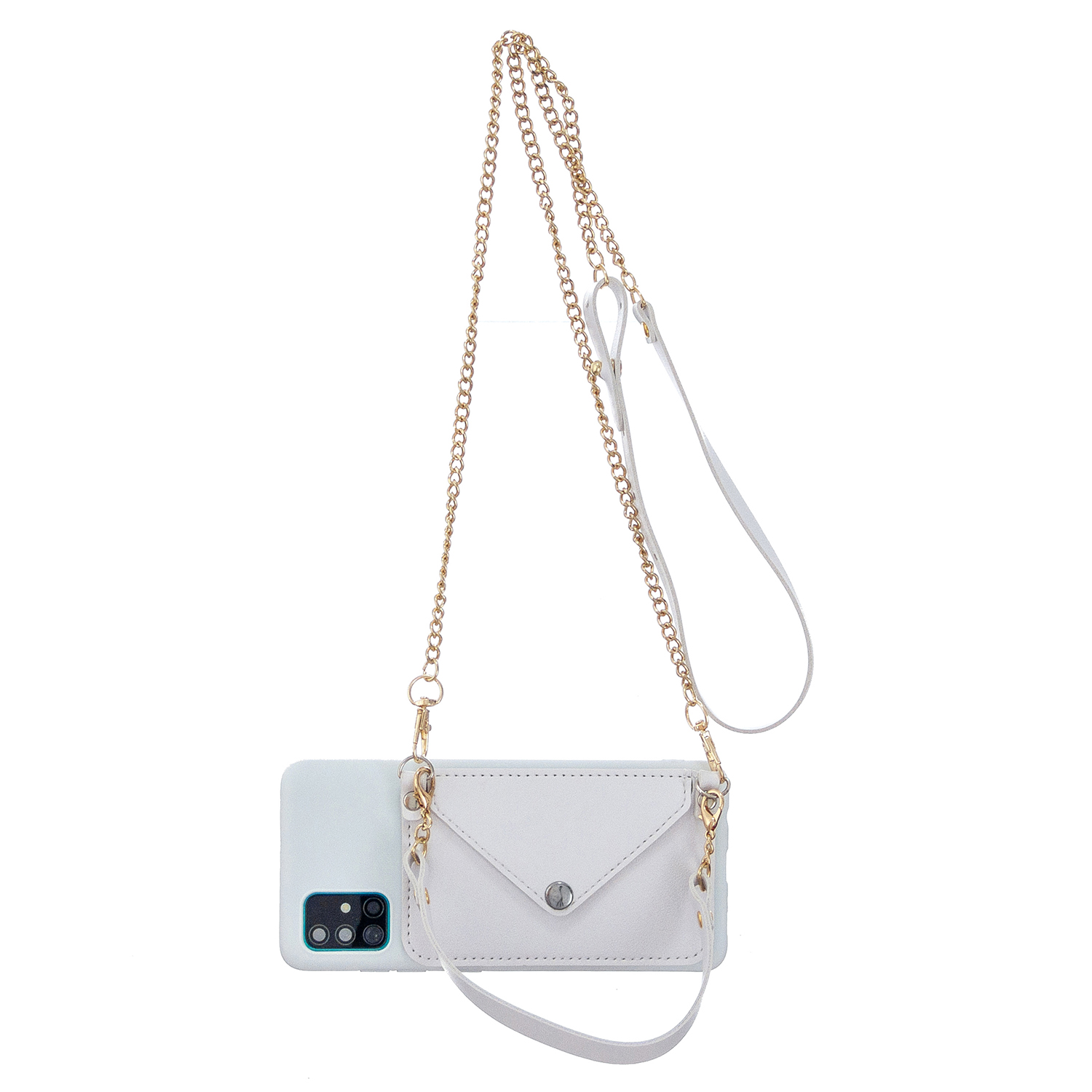 For HUAWEI P40/P40 Lite/P40 Pro Mobile Phone Cover with Pu Leather Card Holder + Hand Rope + Straddle Rope white