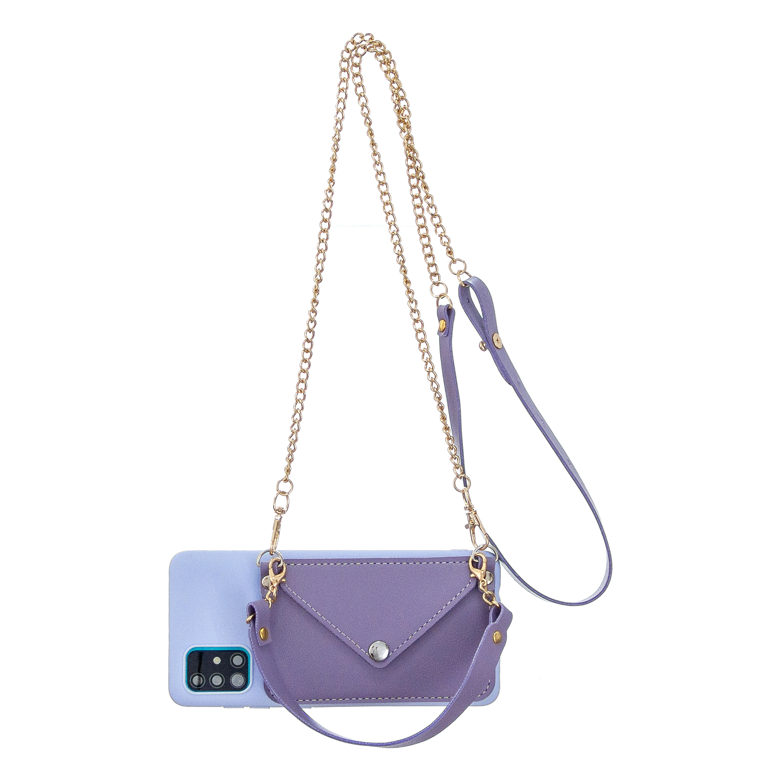 For HUAWEI P40/P40 Lite/P40 Pro Mobile Phone Cover with Pu Leather Card Holder + Hand Rope + Straddle Rope purple
