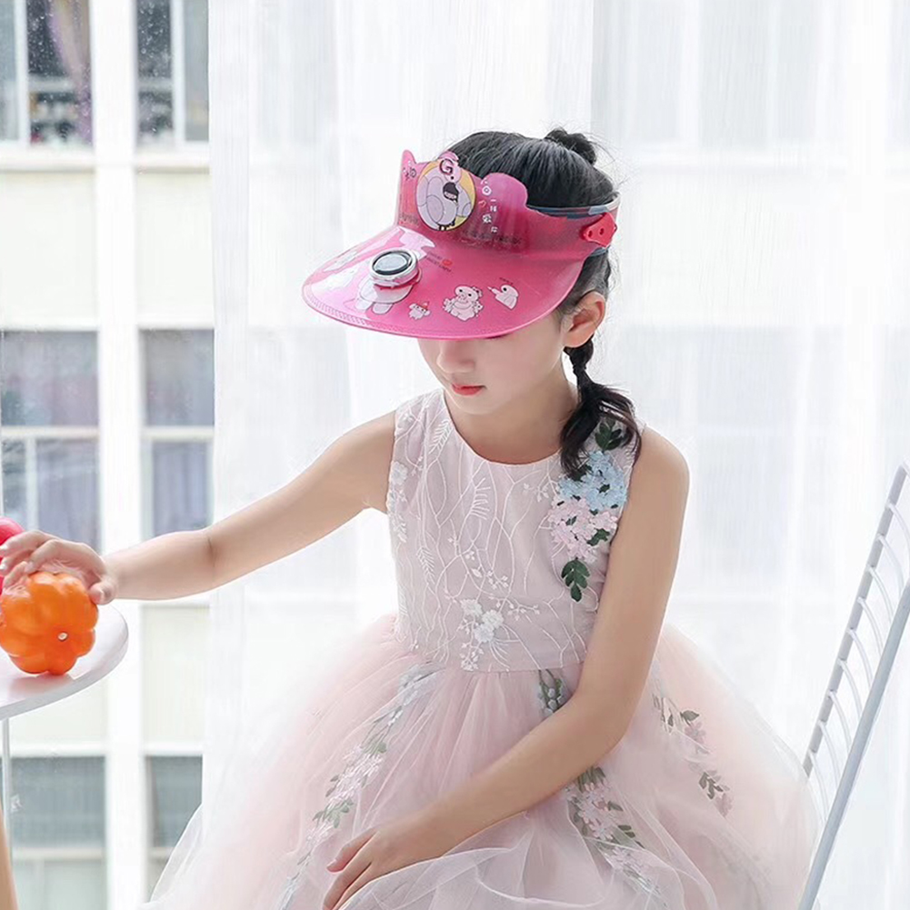 Children Girl Boy Hat Cartoon Pattern Sunhat Empty Top Solar Fan Cap Rose red