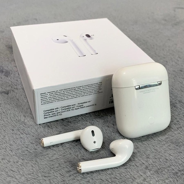 1:1Apple MMEF2AM / AAAAA + Air Pods Bluetooth Earphone Wireless Charging Headset with IOS / Android Charging Case Second generation white