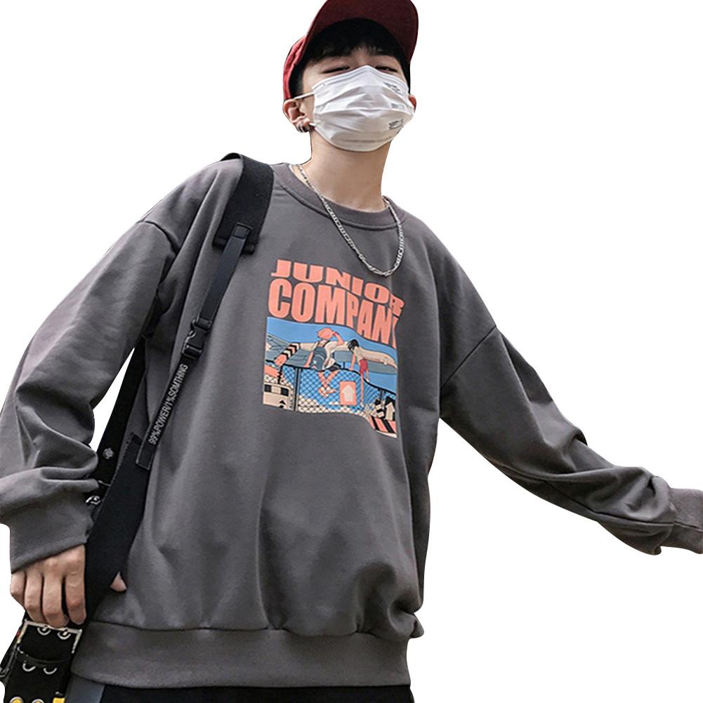 Couple Crew Neck Sweatshirt Hip-hop Junior Company Student Fashion Loose Pullover Tops Gray_XL