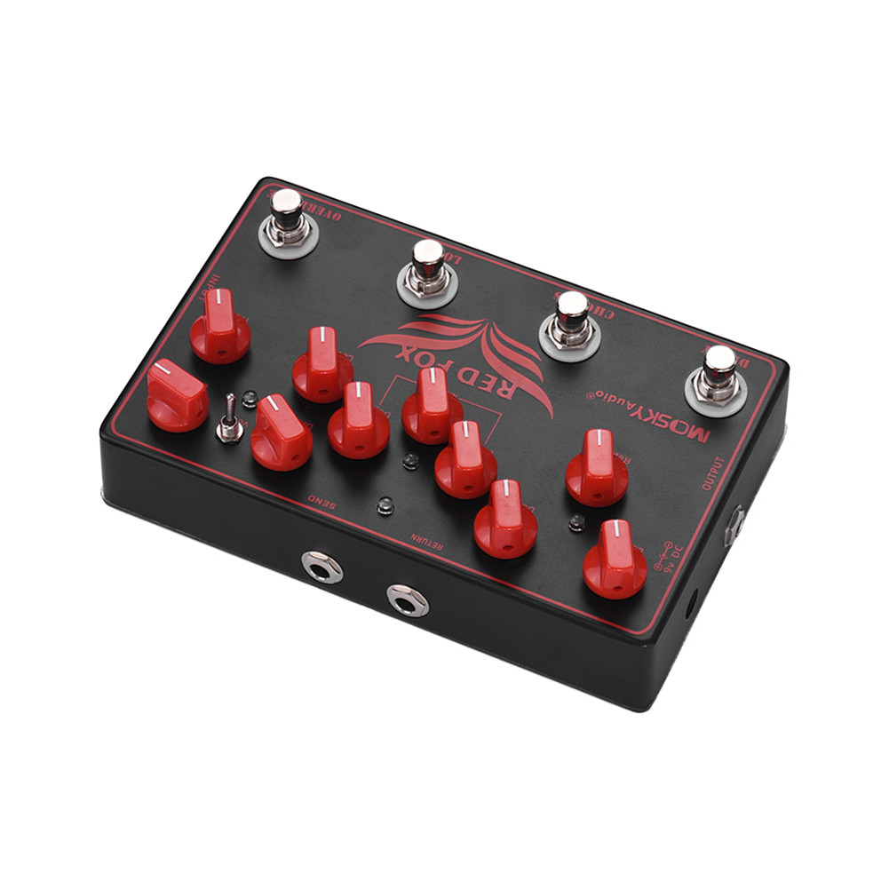Electric Guitar Effect Delay + Chorus + Loop + Overload 4 in 1 Synthesizer Effect black