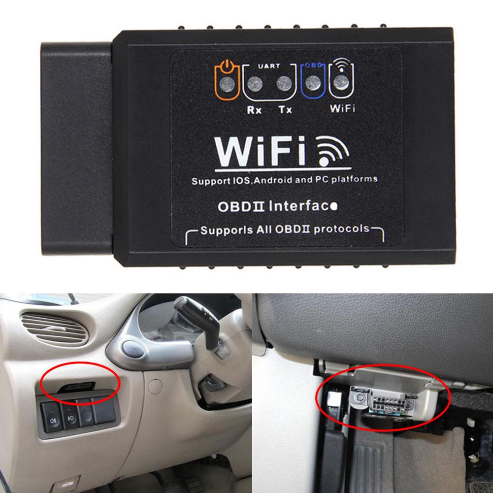 ELM327 V1.5 OBD2 WIFI  Car Diagnostic Scanner Auto Code Reader Scanner black