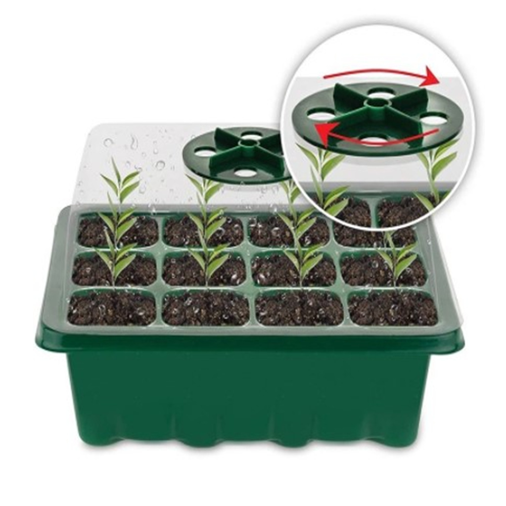 Nursery Germinating Propagating Seedling Plant Tray Grow Box 12 Holes With Dome Lid green