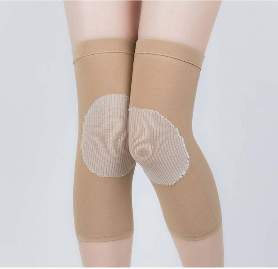 2pcs Breathable Elasticated Knee Pads Warm Leg Sleeve Knee Brace Support Anti Crash Kneepad Joint Wrap Protector SKIN color