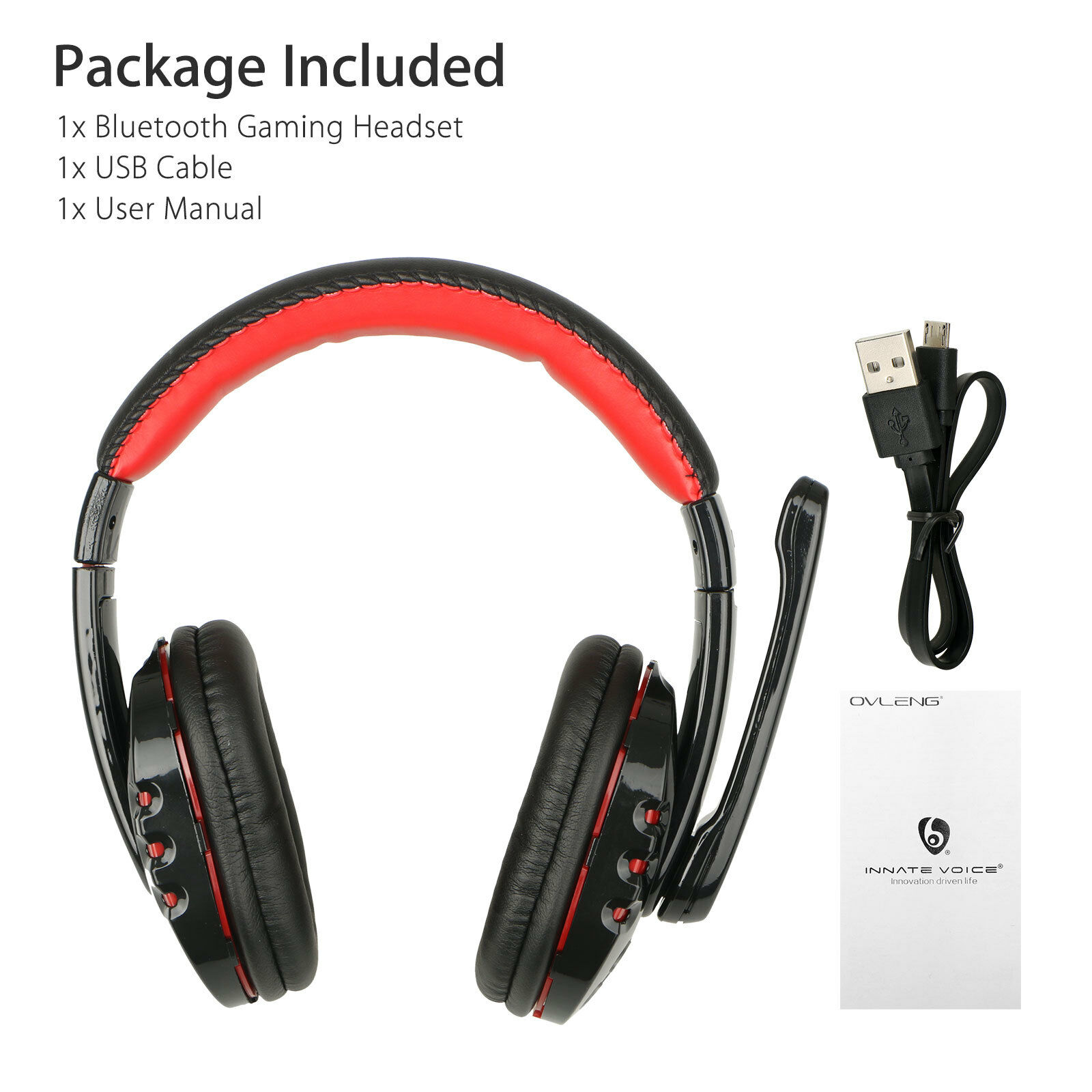 Bluetooth Wireless Gaming Headset for Xbox PC PS4 with Mic LED Volume Control As shown
