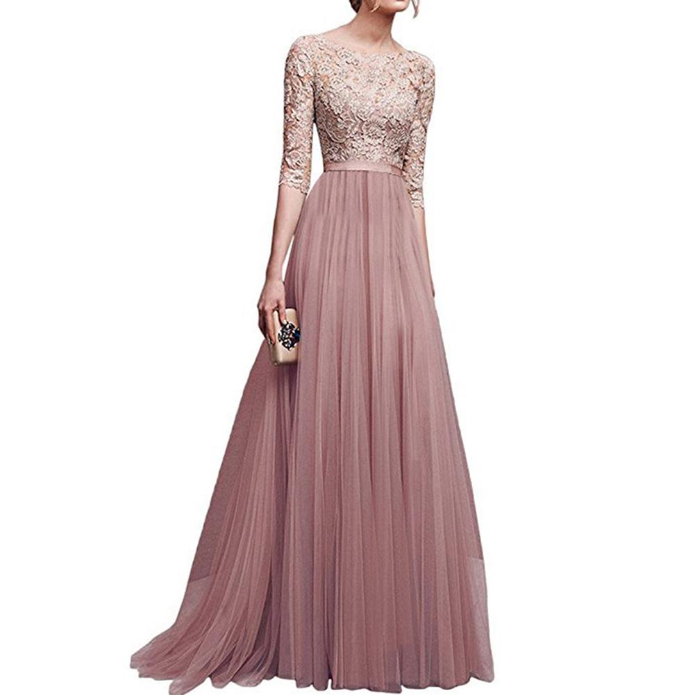 Women Delicate Chiffon Evening Dress Party Elegant Dresses Leisure Long Formal Dress apricot_L