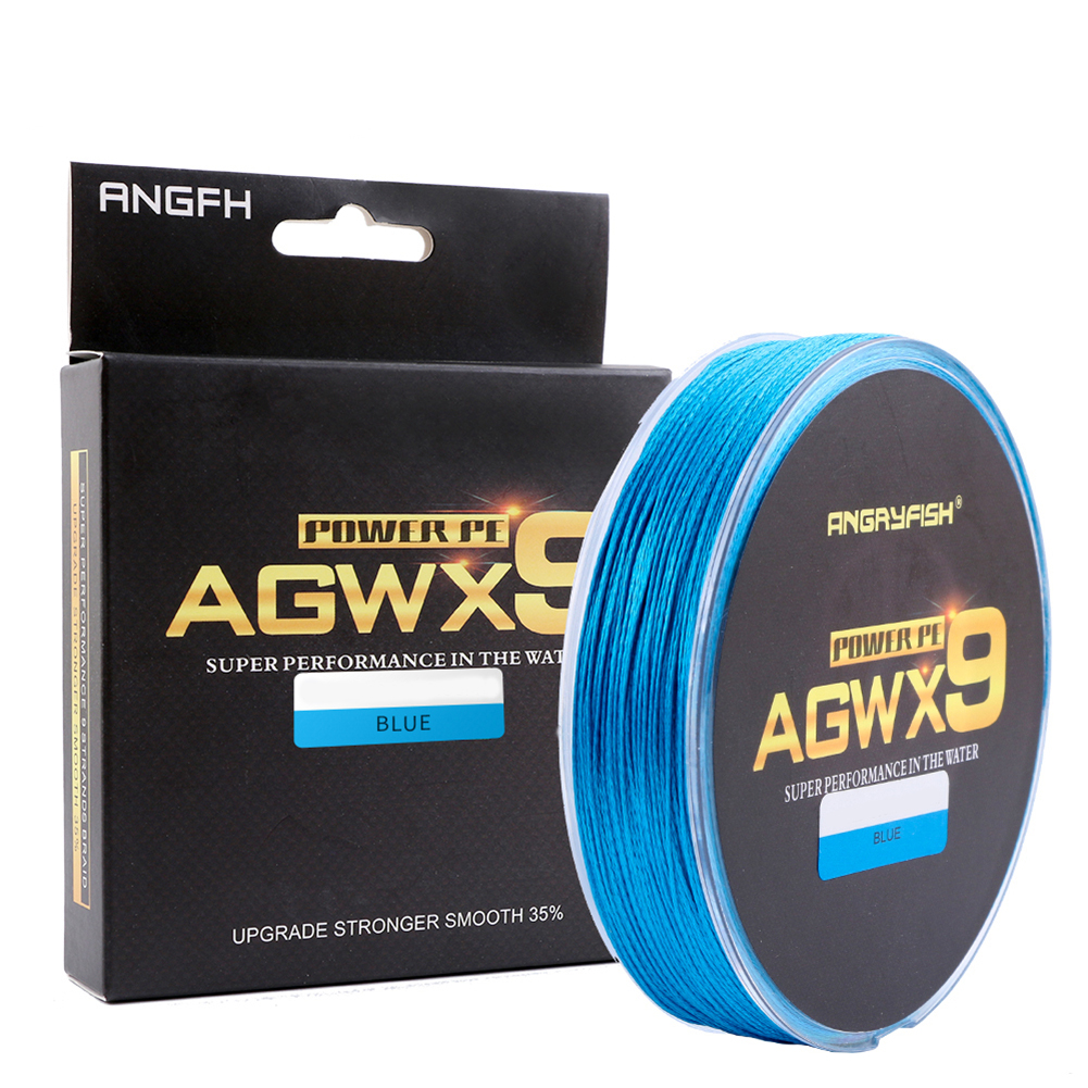 ANGRYFISH Diominate X9 PE Line 9 Strands Weaves Braided 300m/327yds Super Strong Fishing Line 15LB-100LB Blue 0.4#: 0.10mm/15LB