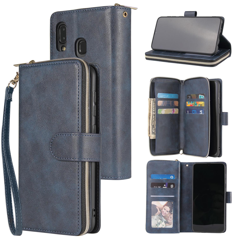 For Samsung A10/A20/A30/A50/A30S/A50S Pu Leather  Mobile Phone Cover Zipper Card Bag + Wrist Strap blue