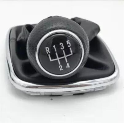 5/6 Speed Gear Shift Knob Lever Shifter Gaitor Boot PU Leather For Volkswagen VW 2003-2008 Golf 4 IV MK4 GTI R32 Jetta Silver/5 speed