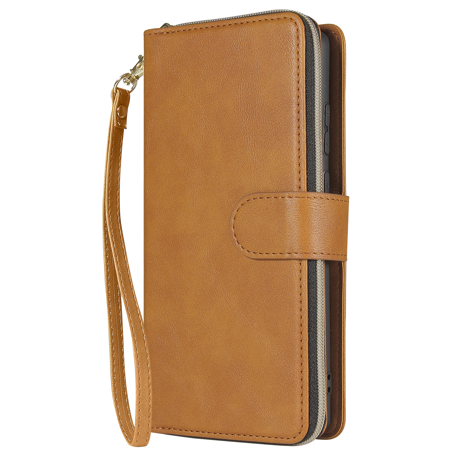 For Samsung A51 5G/A71 5G/Note 10 pro Pu Leather  Mobile Phone Cover Zipper Card Bag + Wrist Strap brown