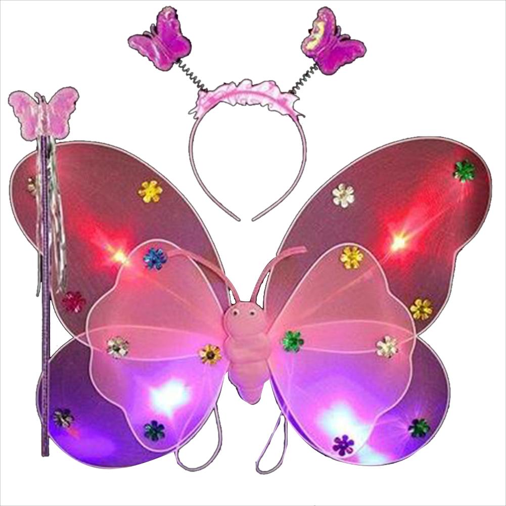 [Indonesia Direct] 3pcs/set Children Butterfly Wings Costume Props Gauze Wings Skirt Suit 3pcs/set Pink