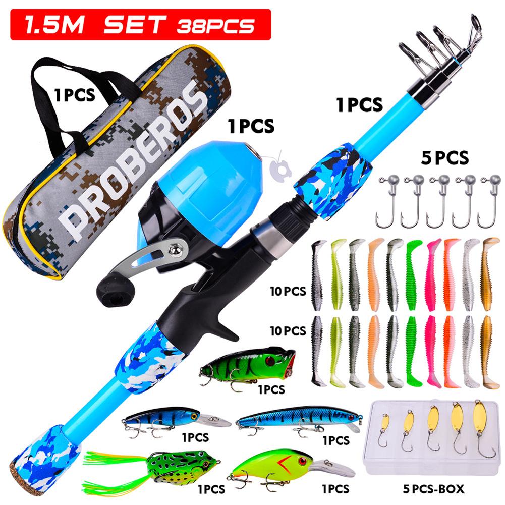 38pcs/set Children Sea Pole Set Mini Spinning Rod Fishing Rod Accessories Camouflage blue_38-piece suit/1.5m