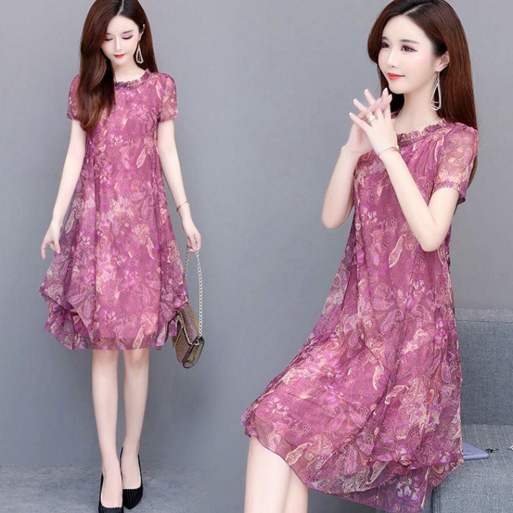 [Indonesia Direct] Women Summer Round Neckline Short Sleeve Print Loose Thin Dress purple_2XL