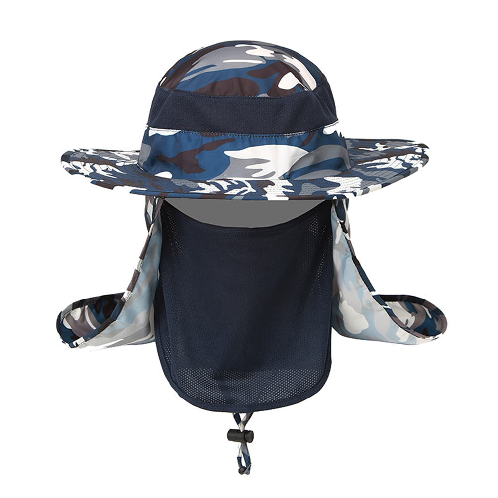 Outdoor Camouflage Hat with Mask Cover Fishing Mountaineering Sun-proof Camouflage Navy_adjustable