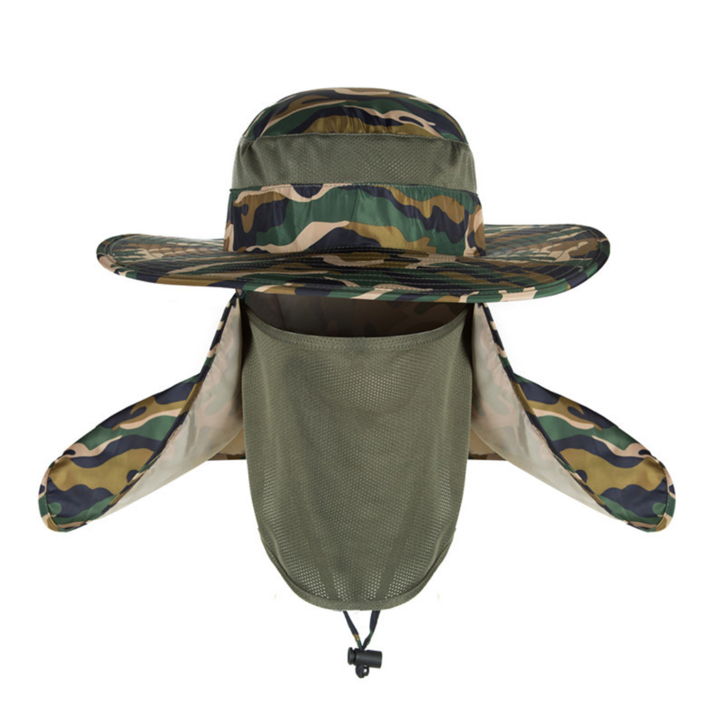 Outdoor Camouflage Hat with Mask Cover Fishing Mountaineering Sun-proof Camouflage Army Green_adjustable